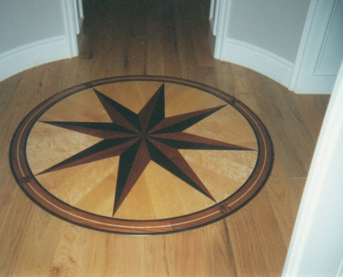 White Oak plank with a Compass Medallion