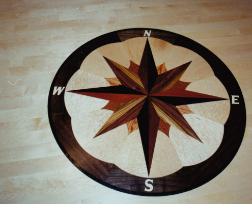 Compass Medallion inserted inside a Maple floor