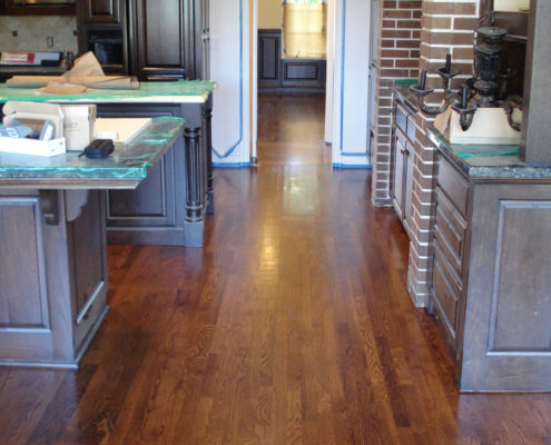 Refinished White Oak Strip Floors. I installed this floor 30 years ago.